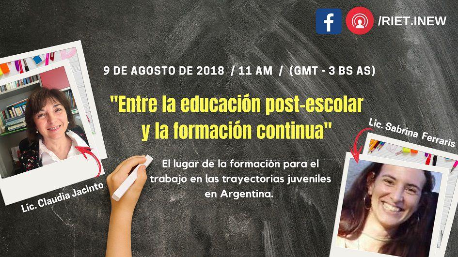"""El 9 de agosto conéctate a Facebook y participá en la webinar """"Entre la educación post-escolar y la formación continua"""
